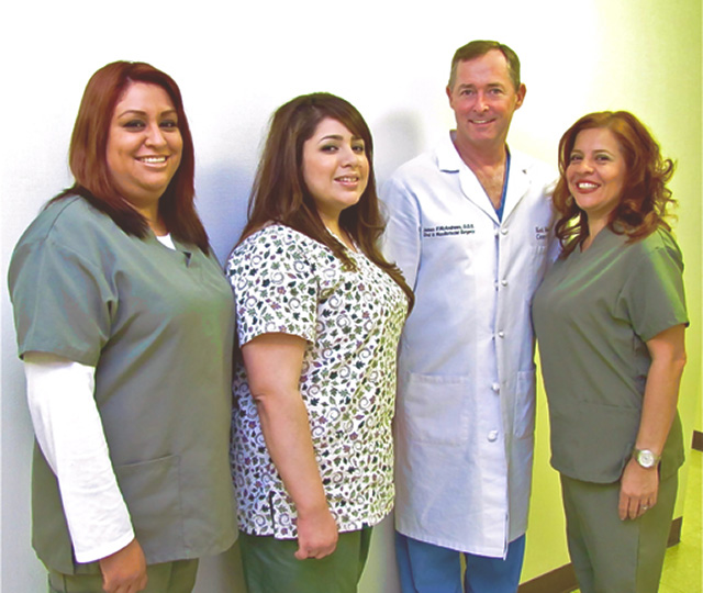 Dr. McAndrews with his staff at Downey Oral and Maxillofacial Surgery